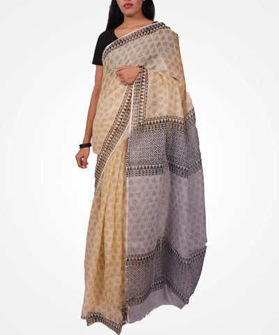 Handwoven Cream Linen Saree