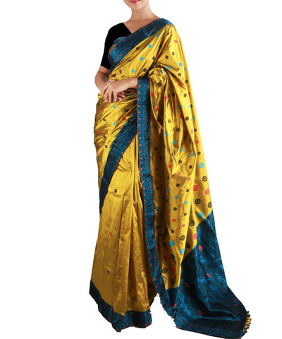 Olive and Peacock Blue Assam Silk Saree