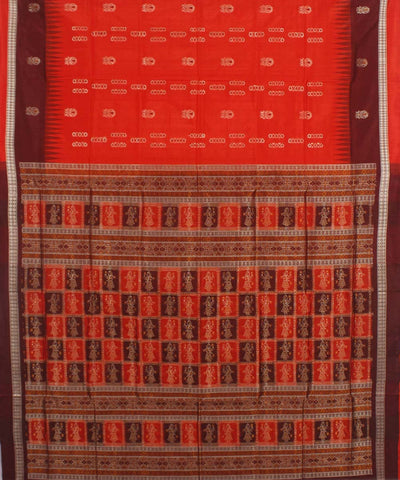 Crimson Red Maroon Handloom Bomkai Silk Saree