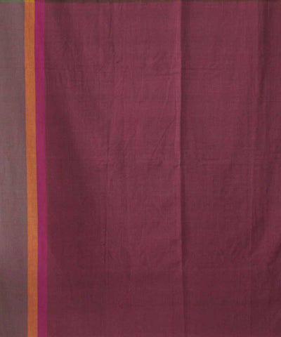 Handwoven Grape Purple Cotton Saree