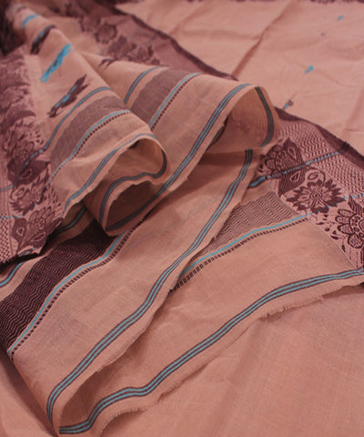 Bengal Handloom Coffee Brown Tangail Saree