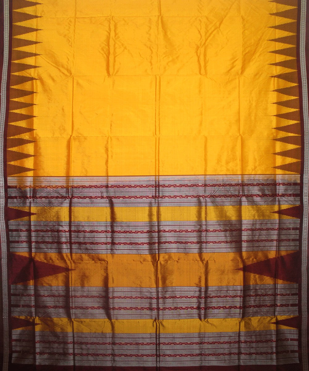 Handwoven Bomkai Silk Saree of Sonepur in Yellow and Dark Maroon