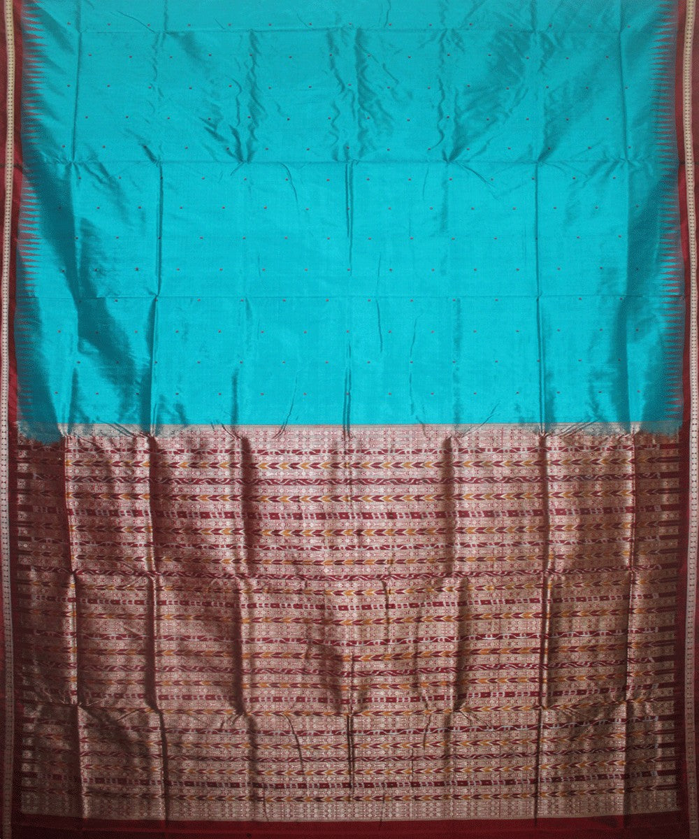 Handwoven Bomkai Silk Saree of Sonepur in Ball Blue and Maroon