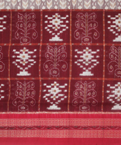 Handwoven Sambalpuri Ikat Cotton Saree in Dark Maroon and Red