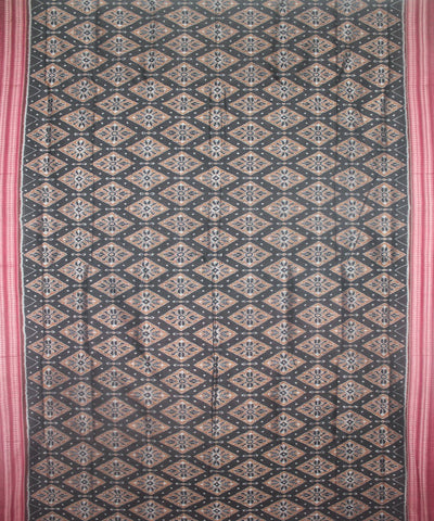 Handwoven Sambalpuri Ikat Cotton Saree in Black and Maroon