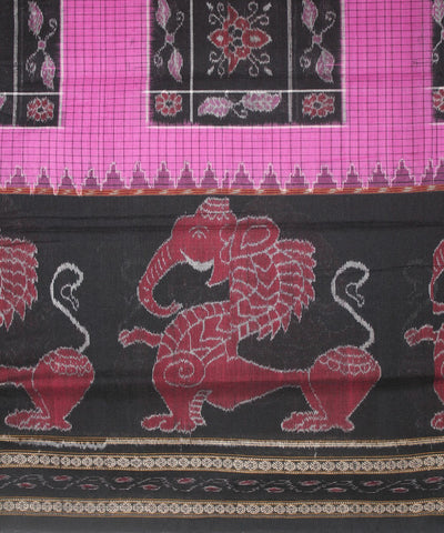 Handwoven Sambalpuri Ikat Cotton Saree in Magenta and Black