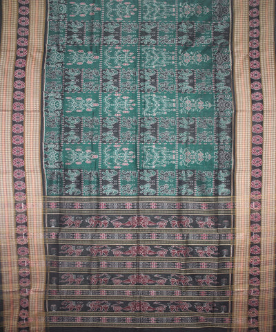 Handwoven Sambalpuri Ikat Cotton Saree in Green and Black