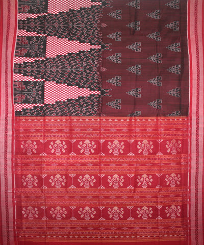 Handwoven Pasapalli Cotton Saree in Black and Red