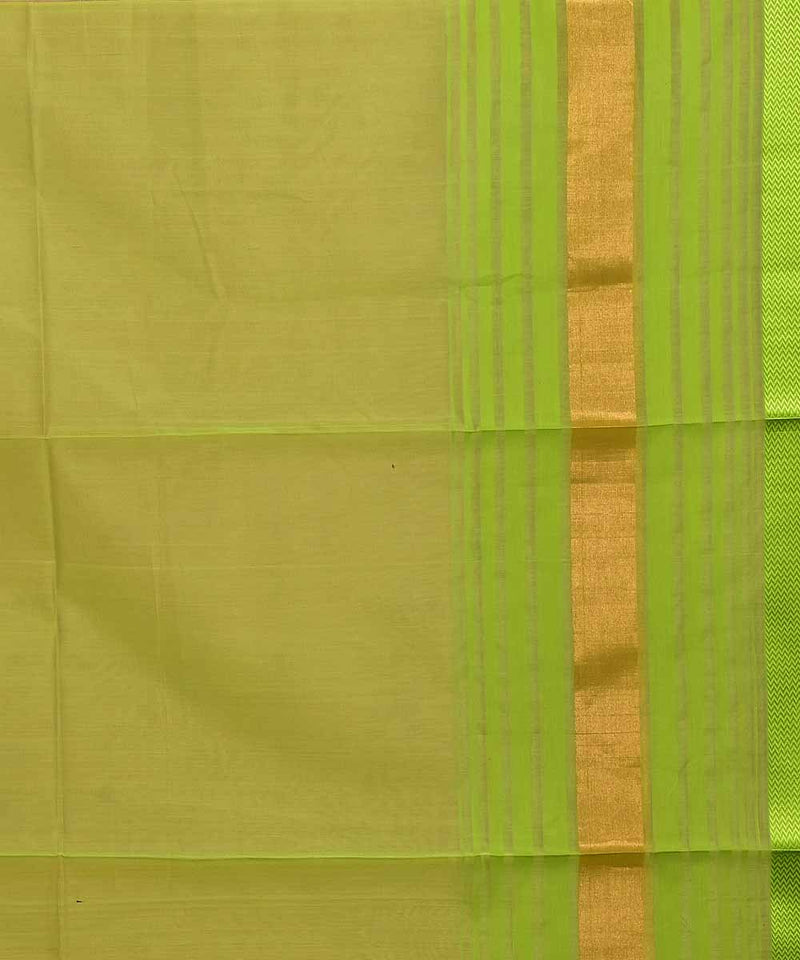 Maheshwari Handloom Light Brown Green Saree