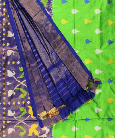 Pure Handloom Ikat Rajkot Silk Saree In Parrot Green Color