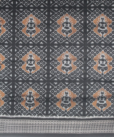 Handwoven Sambalpuri Ikat Cotton Saree in Peru and Black