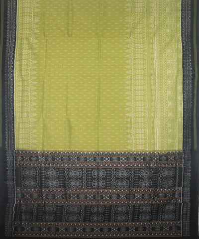 Handwoven Sambalpuri Ikat Cotton Saree in Acid Green and Black