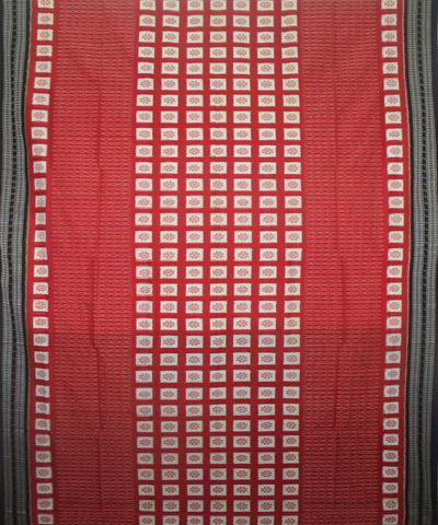 Handwoven Sambalpuri Ikat Cotton Saree in Reddish Rust and Black
