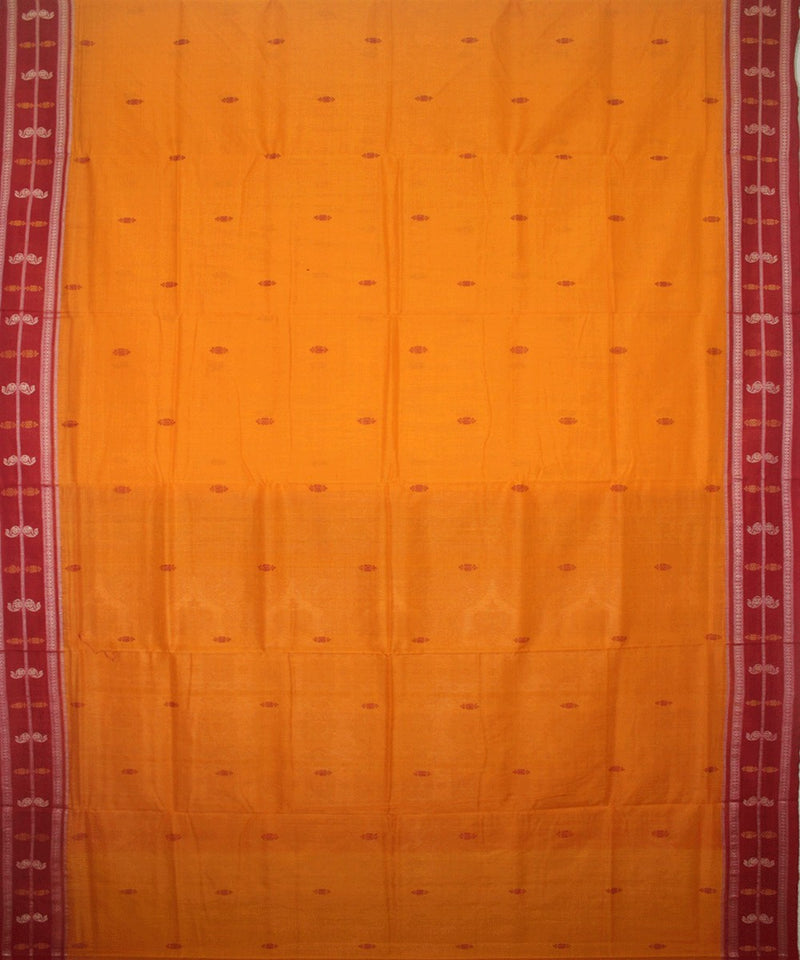 Handwoven Bomkai Cotton Saree in Yellow and Maroon