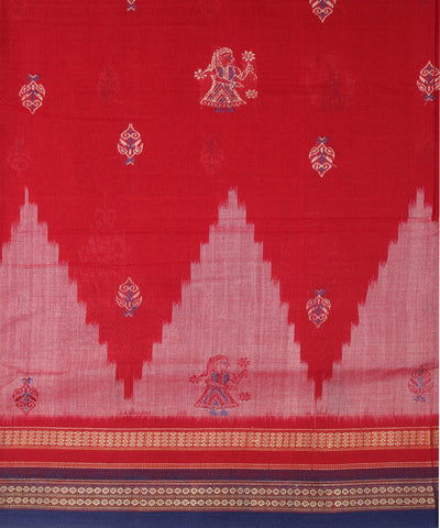 Handwoven Bomkai Cotton Saree in Red and Blue