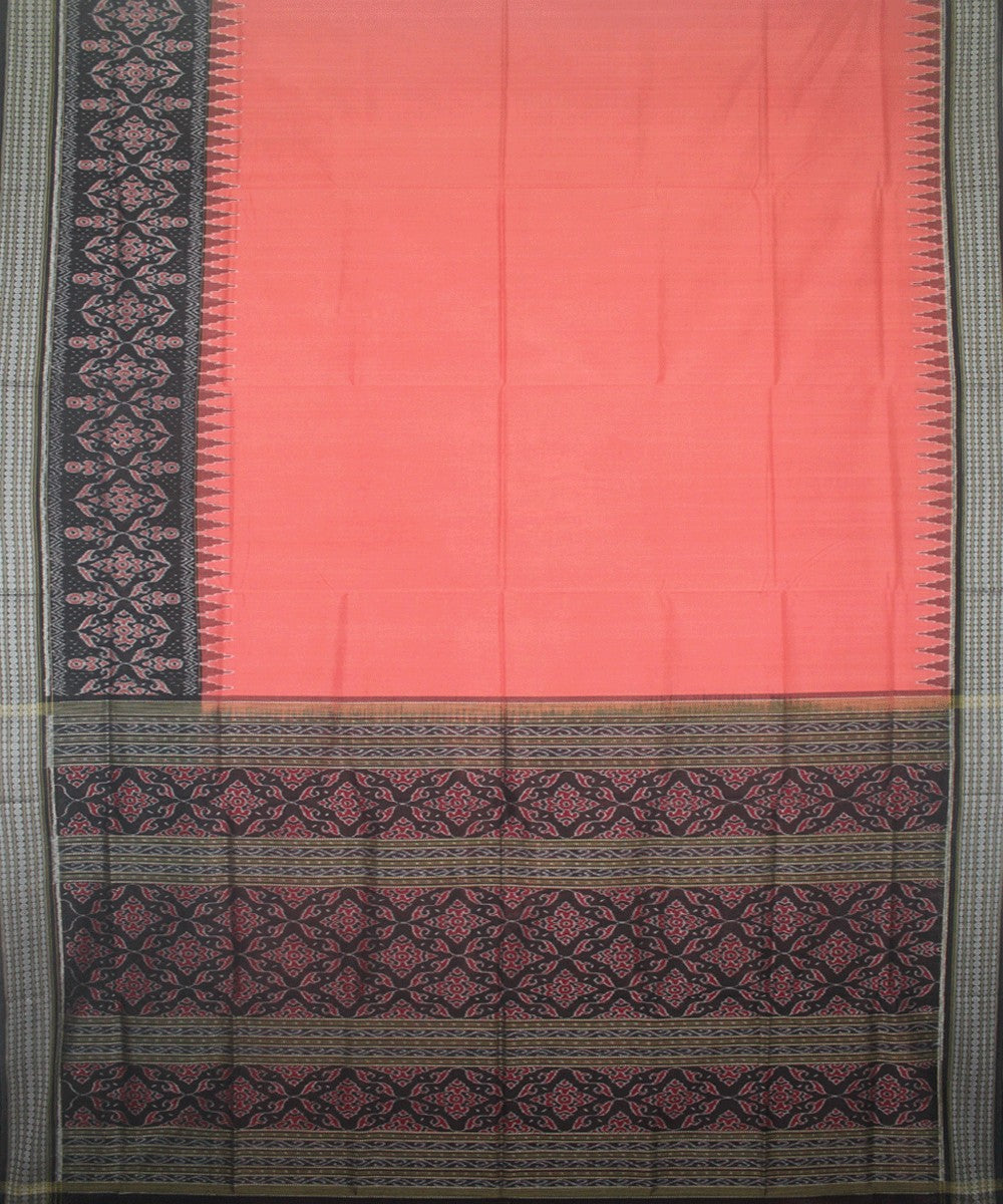 Handwoven Sambalpuri Ikat Cotton Saree in Fuzzy Wuzzy and Black