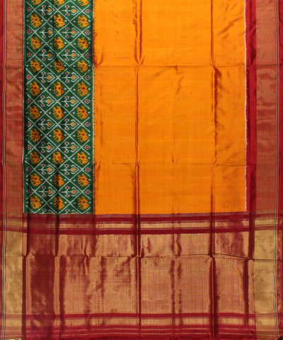 Dark Golden Rod And Maroon Color Handwoven Ikat Rajkot Silk Saree