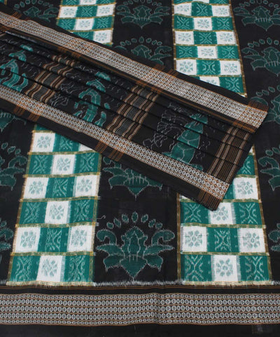 White, Green and Black Sambalpur Cotton Saree