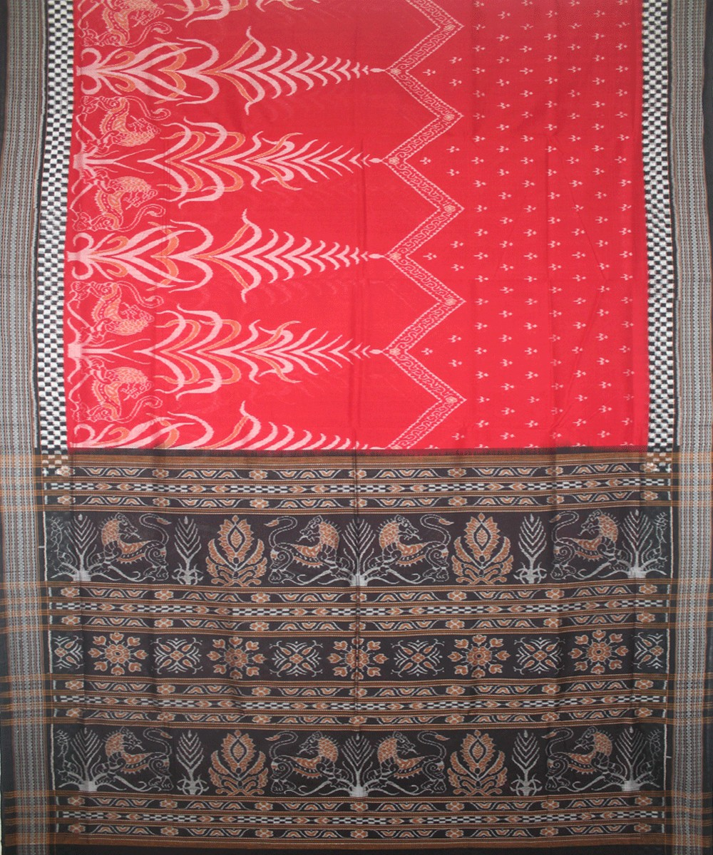 Red Black Handloom Sambalpuri Ikat Saree