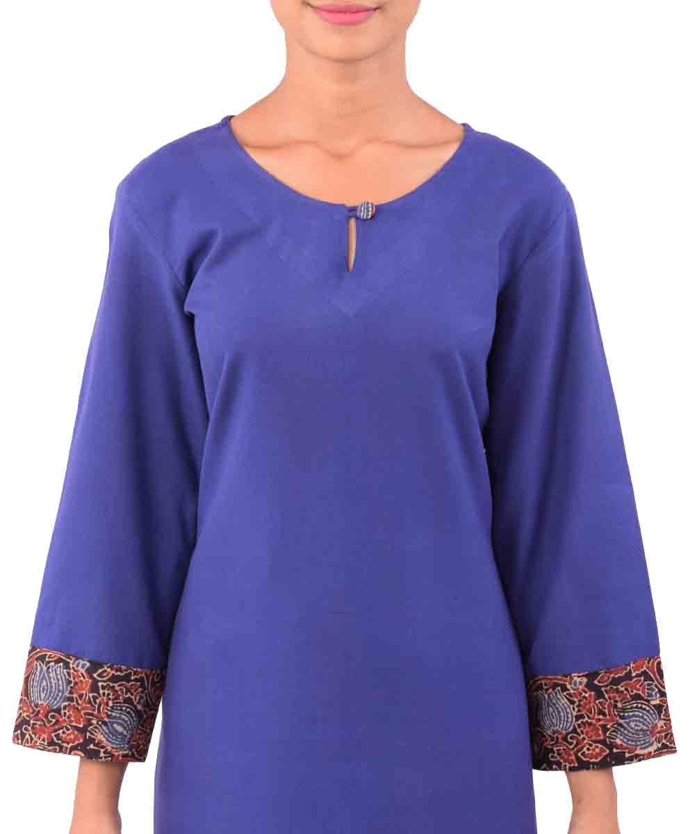 Royal Blue Handwoven Printed Kurti