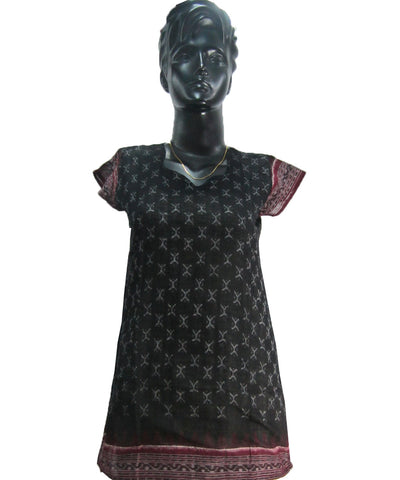 Black Sambalpuri Ikat Cotton Kurti