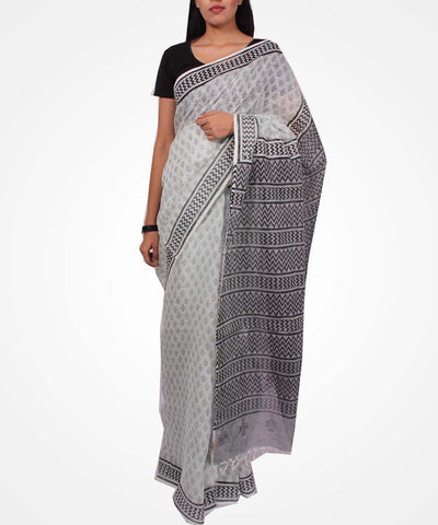 Handwoven Light Mint Linen Saree
