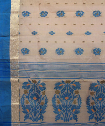 Bengal Handloom Off White Blue Tangail Saree