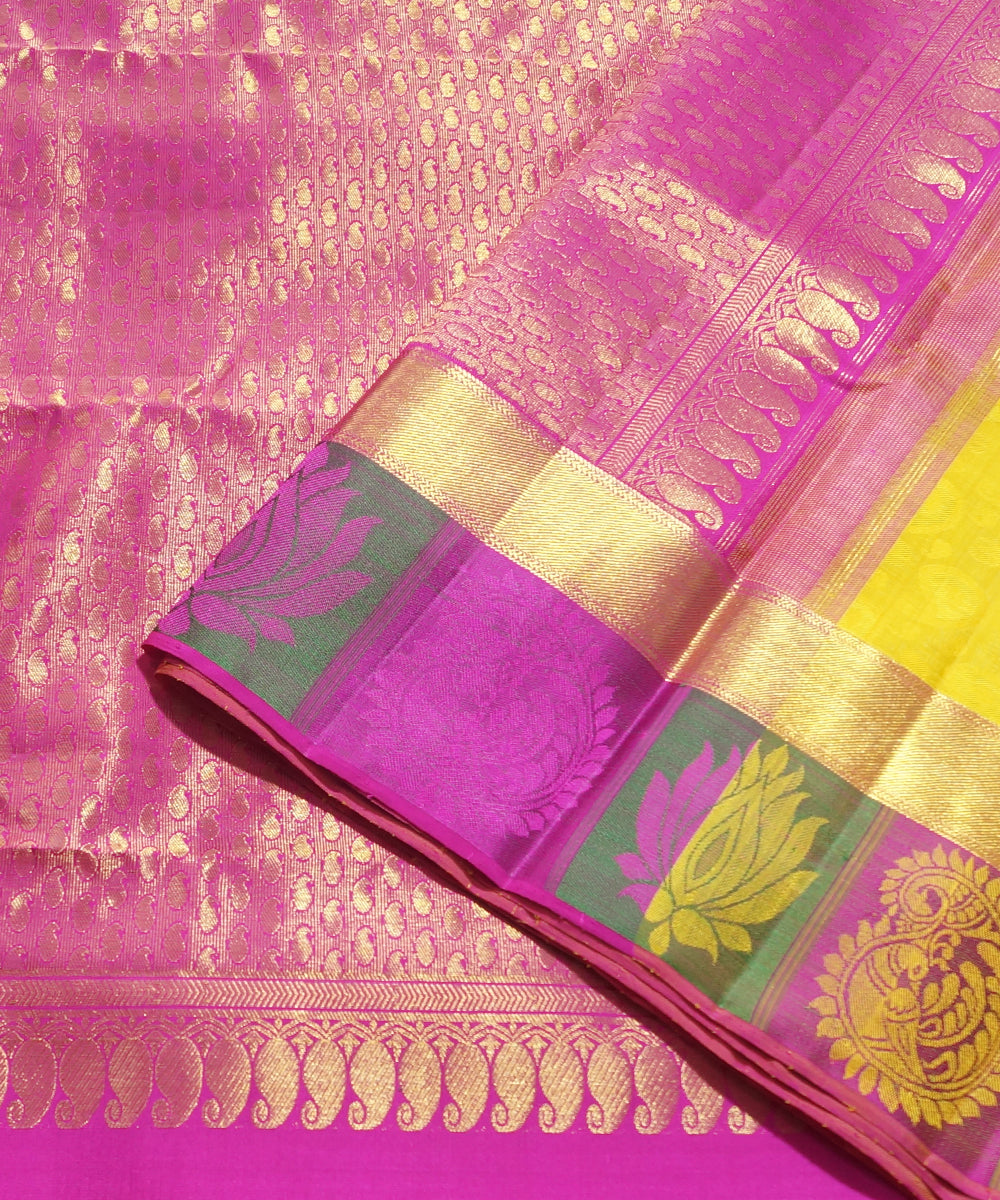 Handwoven Yellow and Pink Arni Silk Saree