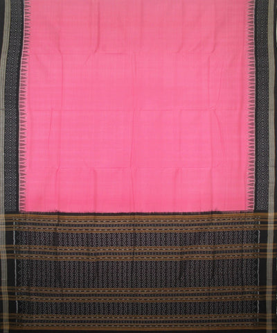 Handwoven Sambalpuri Ikat Cotton Saree in Amaranth Pink and Black