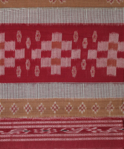 Handwoven Nuapatna Ikat Cotton Saree in Peru and Maroon