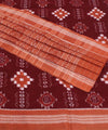 Deep Maroon Brown Sambalpuri Cotton Saree