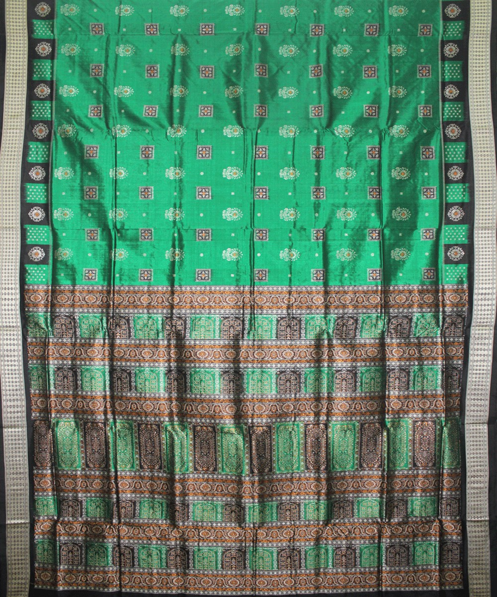 Handwoven Bomkai Silk Saree of Sonepur in Parrot Green and Black