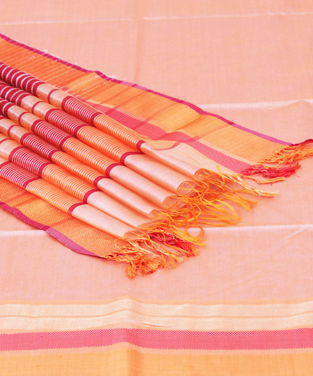 Handwoven Carrot Orange Maheshwari Sico Saree