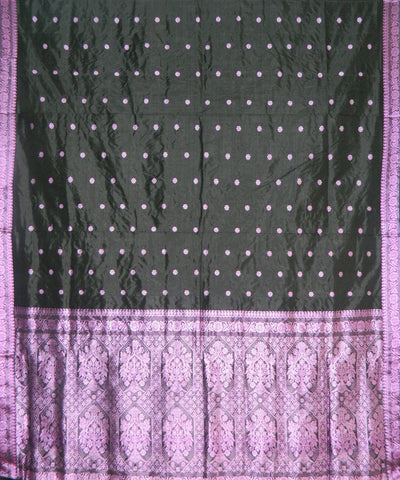 Black with Pink Assam Silk Saree