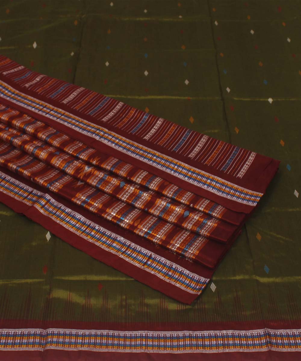 Olive and Maroon Handloom Bomkai Silk Saree