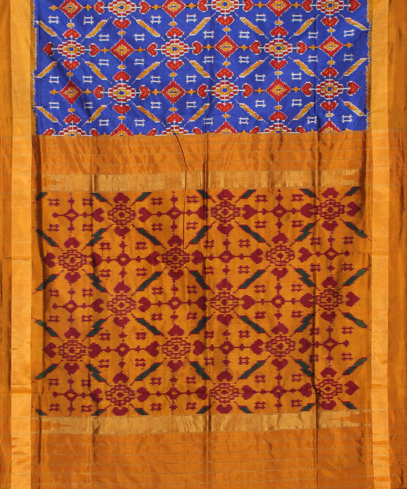 Mustard Brown Handloom Ikkat Silk Saree
