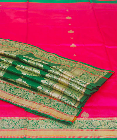 Banarasi Pink and Green Handloom Silk Saree