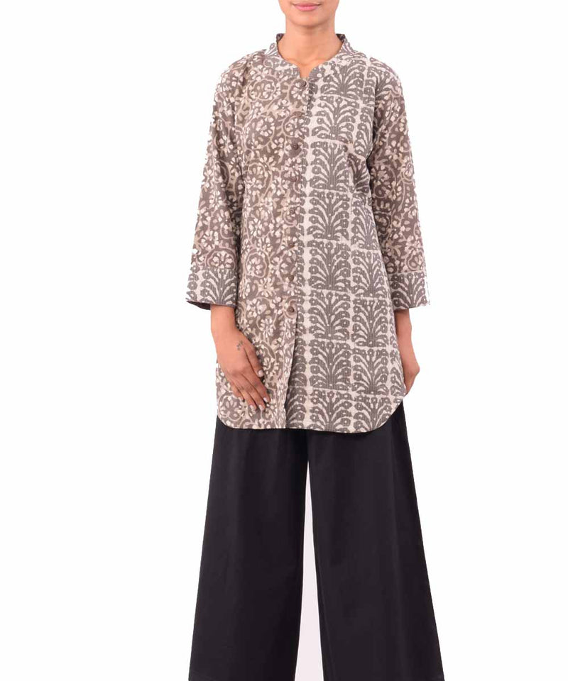 Brown Multishade Dabu Handprint Cotton Tunic