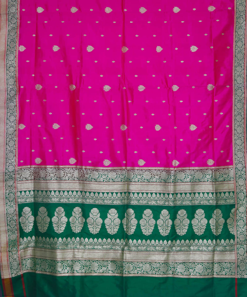 Pink and green handloom silk banarasi saree