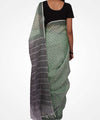 Handwoven Lime Green Linen Saree