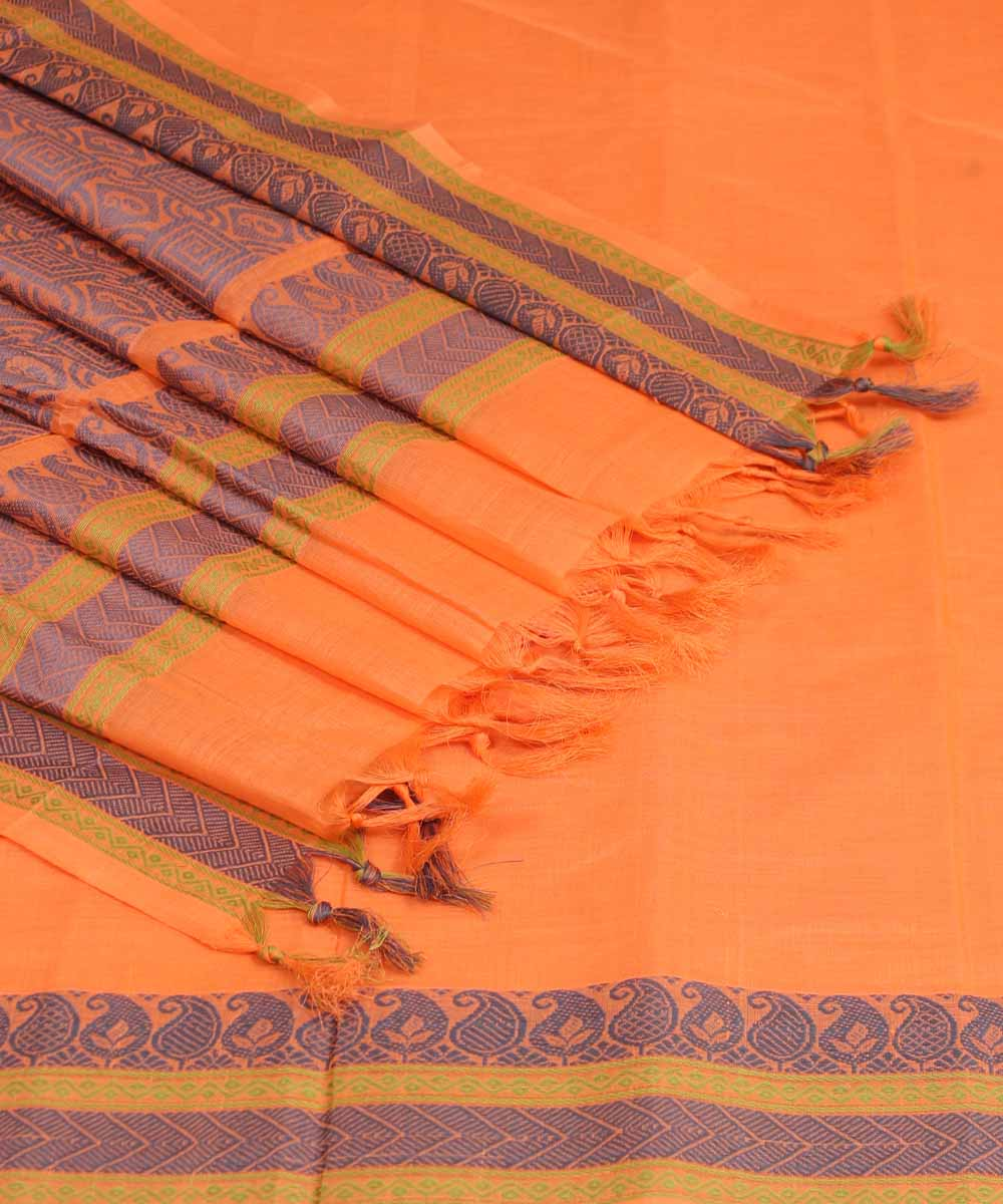 Orange Handloom Dindigul Cotton Saree