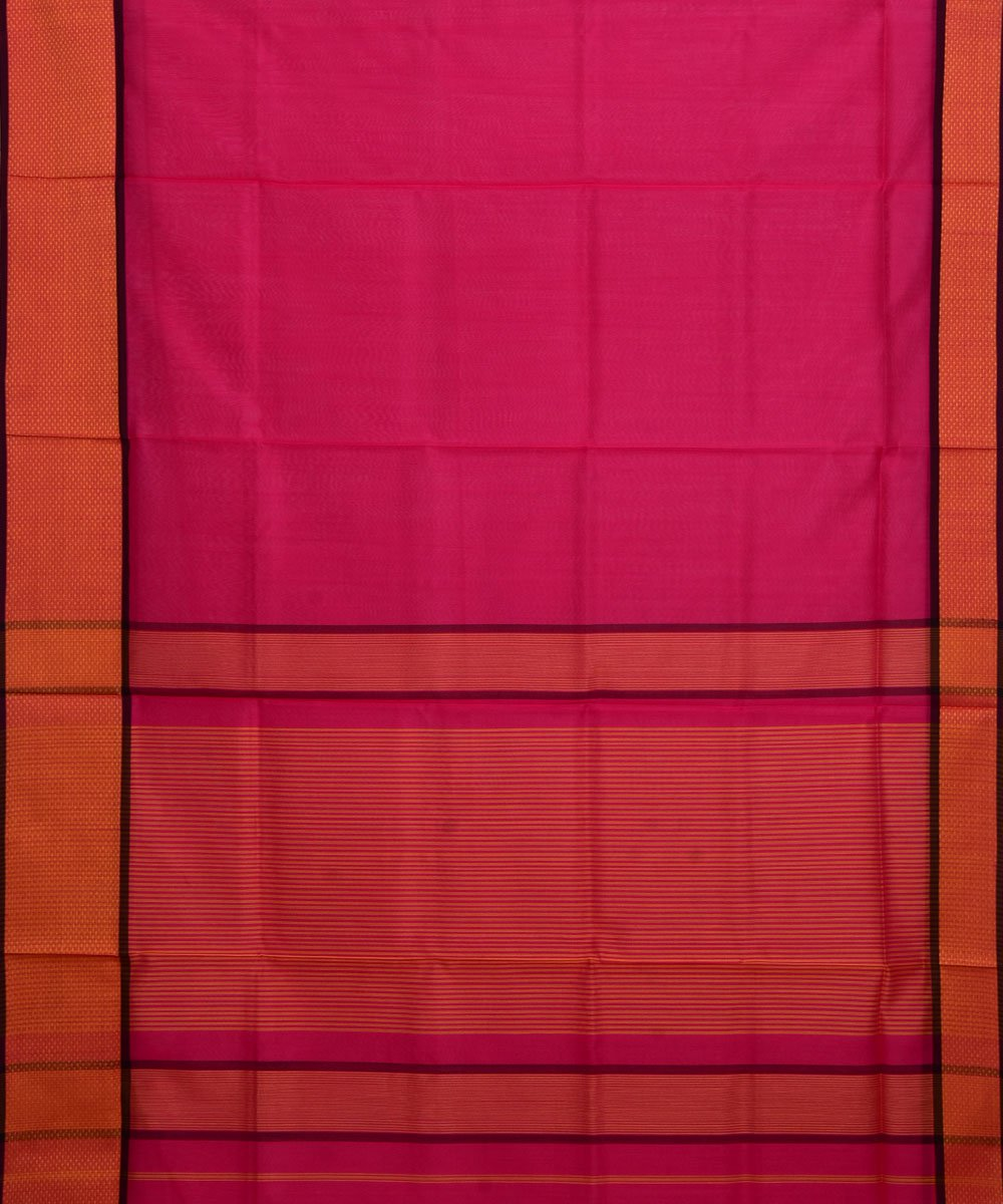 Maheshwari Handloom Pink Orange Sico Saree