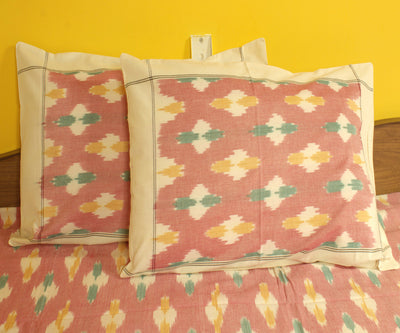 Pink and White Handwoven Ikat Bed Sheet