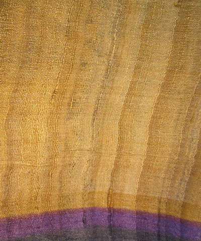 Cream and Violet Tussar Saree