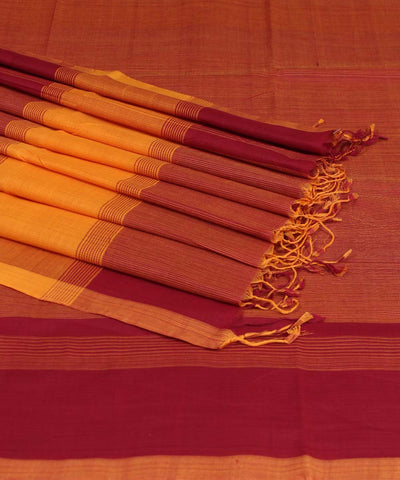 Peteru Red and Yellow Handwoven Cotton Saree