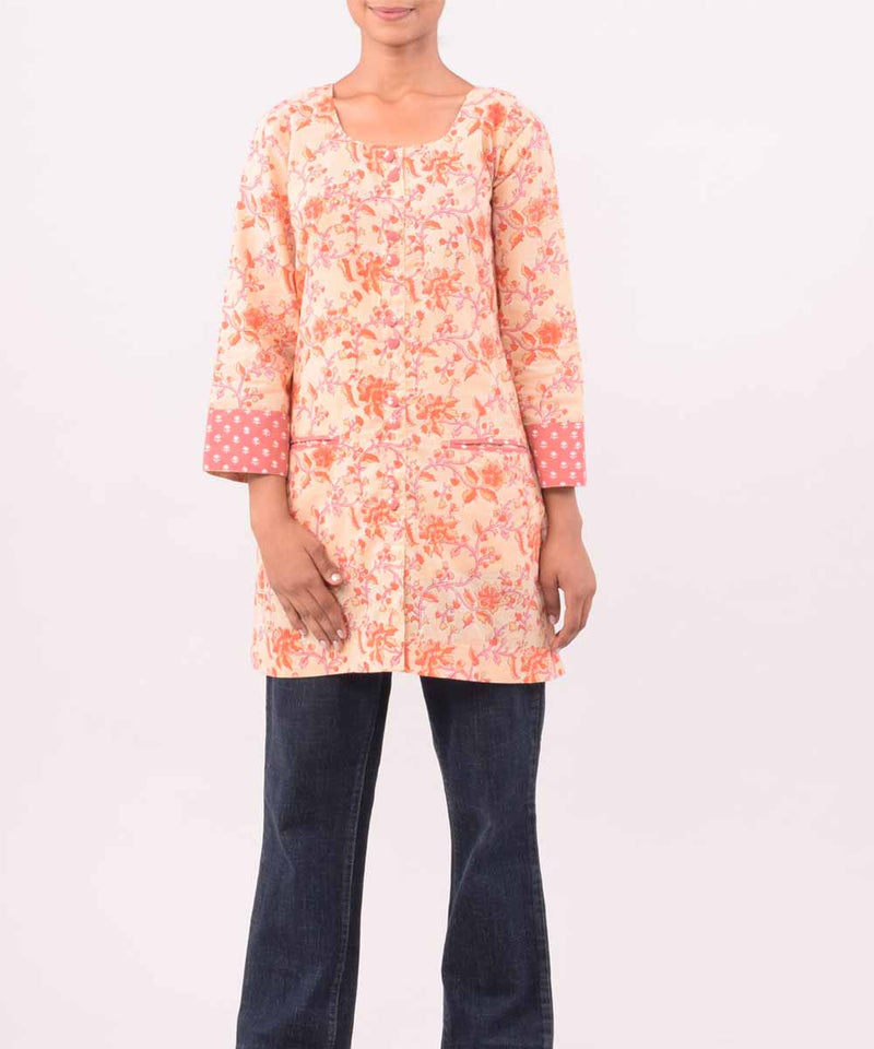 Peach And Orange Hand Printed Cotton Tunic
