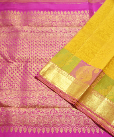 Yellow and Pink Handwoven Arni Silk Saree