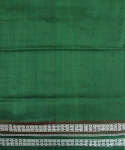 Handloom Bomkai Silk Saree Yellow Green