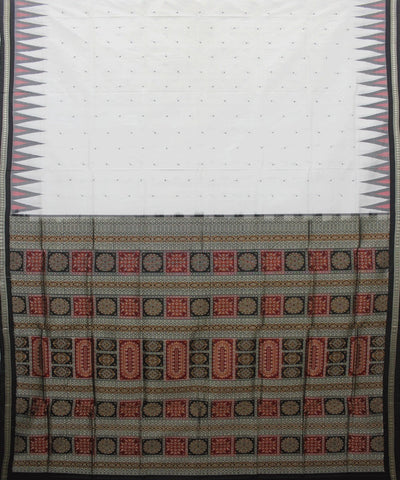 Handloom Bomkai Silk Saree White Black