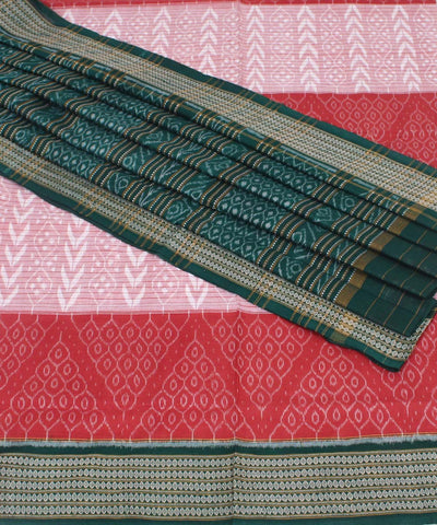 Brick Red Off White Sambalpuri Cotton Saree